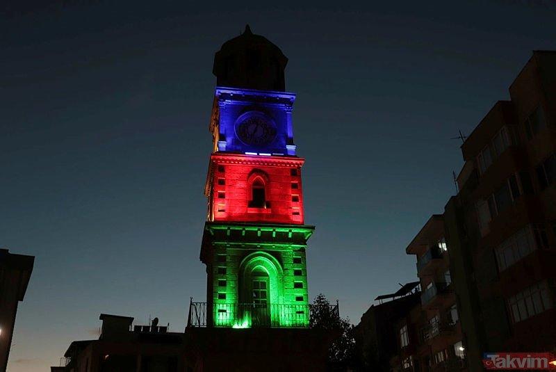 Çanakkale'den Gardaşa anlamlı destek: Saat Kulesi Azerbaycan bayrağı renklerine büründü