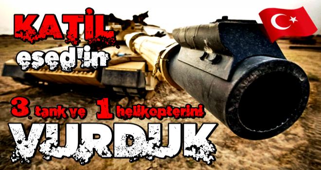 TSK, Esed rejimine ait 3 tank ve 1 helikopter vuruldu!