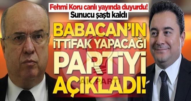 Fehmi Koru, Ali Babacan'ın ittifak yapacağı partiyi açıkladı! Sunucu şaştı kaldı