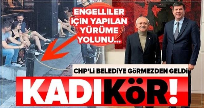 CHP'li Kadıköy Belediyesi'nden skandal! 'Görme engelli yolu'nu kapatan işletmeye arka çıktılar .