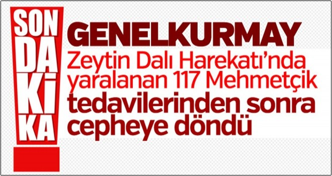Zeytin Dalı'nda yaralanan 117 Mehmetçik göreve döndü