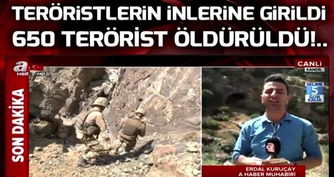 A Haber Kandil'de!.. Teröristlerin inlerine girildi.
