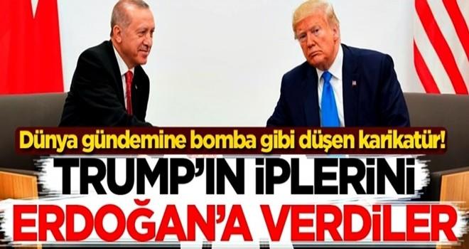 Dünya gündemine bomba gibi düşen karikatür! Trump'ın iplerini Başkan Erdoğan'a verdiler