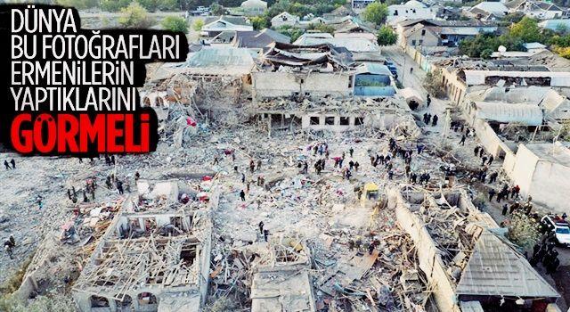 Gence'de füze saldırısının ardından ortaya çıkan görüntüler