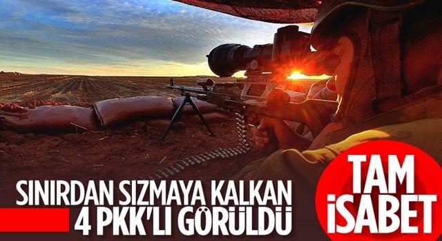 Barış Pınarı bölgesine sızma girişiminde bulunan 4 terörist öldürüldü