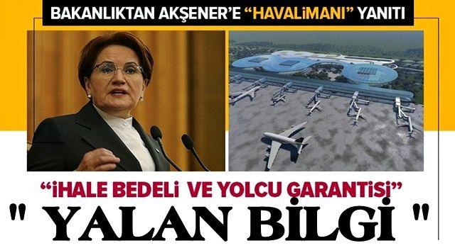 """Ulaştırma ve Altyapı Bakanlığından Meral Akşener'e """"Çukurova Havalimanı"""" yanıtı ."""