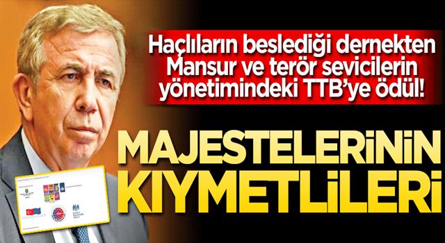 Haçlıların beslediği dernekten Mansur ve terör sevicilerin yönetimindeki TTB'ye ödül!