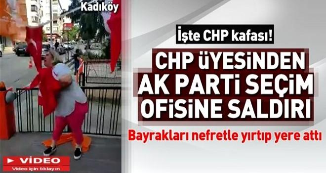 Kadıköy'de CHP'li kadından AK Parti'nin seçim bürosuna saldırı .