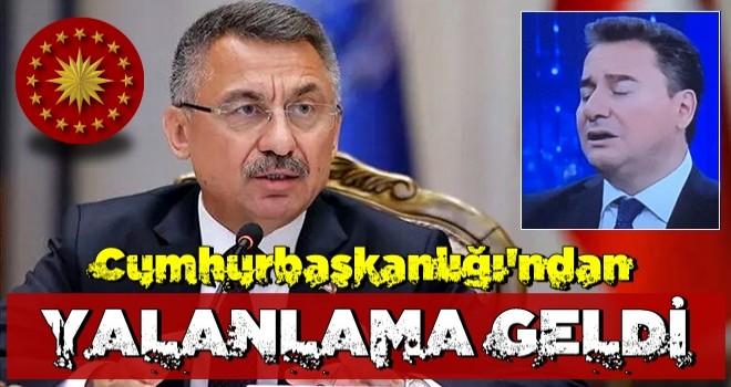 Cumhurbaşkanlığı'ndan Ali Babacan'ın o sözlerine yalanlama
