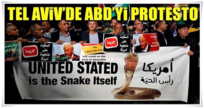Tel Aviv'de ABD'yi protesto