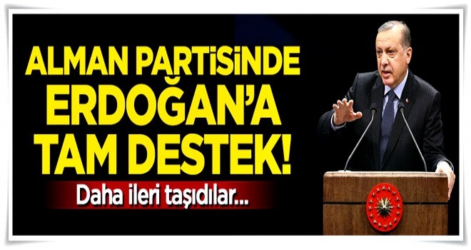 Alman partisinden Cumhurbaşkanı Erdoğan'a destek!