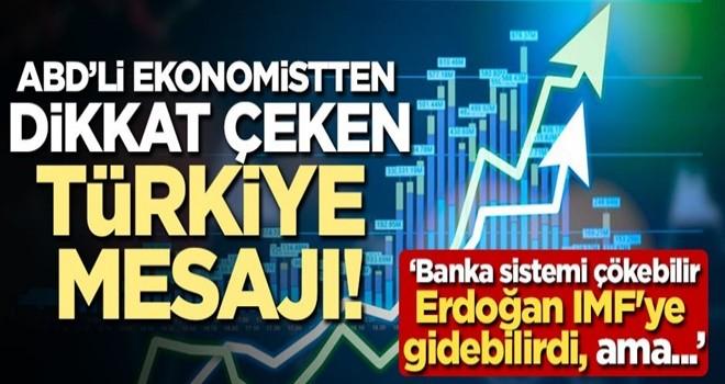 ABD'li ekonomistten dikkat çeken Türkiye mesajı!