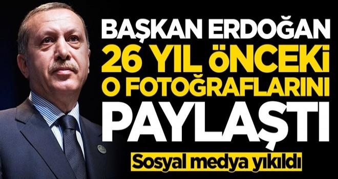 Başkan Erdoğan 26 yıl önceki o fotoğraflarını paylaştı! Sosyal medya yıkıldı