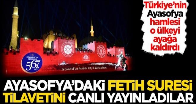 Çılgına döndüler! Ayasofya'daki Fetih Suresi tilavetini canlı olarak yayınladılar