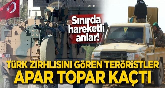 Sınırda hareketli anlar! Türk zırhlısını gören teröristler apar topar kaçtı