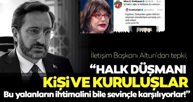İletişim Başkanı Fahrettin Altun: Halk düşmanlarının yalanları yatsıya kadar sürdü!