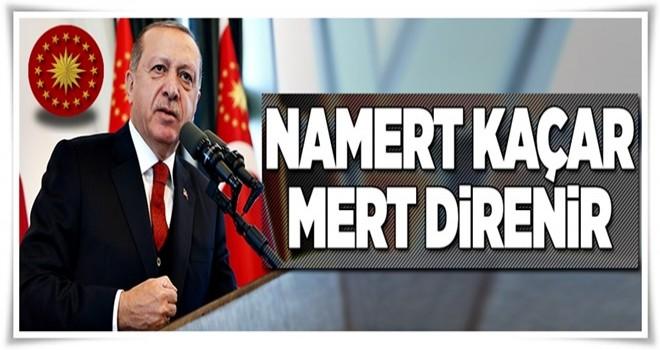 Cumhurbaşkanı Erdoğan: Namert kaçar mert direnir  .