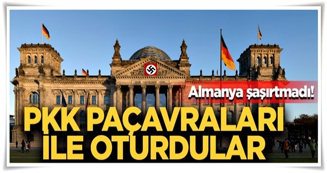 Alman parlamentosunda skandal görüntü! Boyunlarına PKK paçavralarını astılar