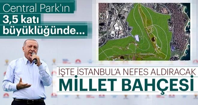 Cumhurbaşkanı Erdoğan Yenikapı mitinginde Millet Bahçesi proje animasyonunu izletti