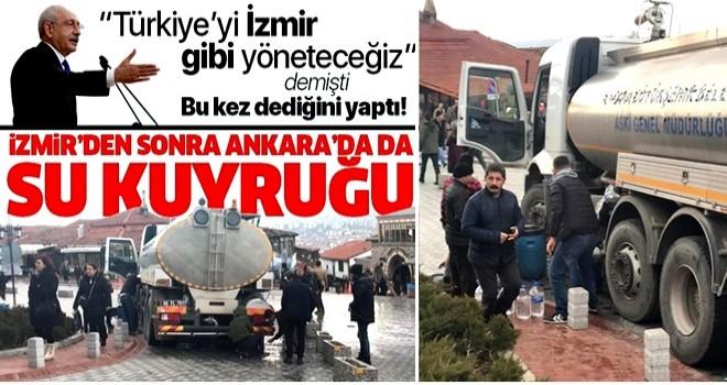 CHP Genel Başkanı Kemal Kılıçdaroğlu dediğini yaptı! İzmir'den sonra Ankara'da da su kuyruğu .