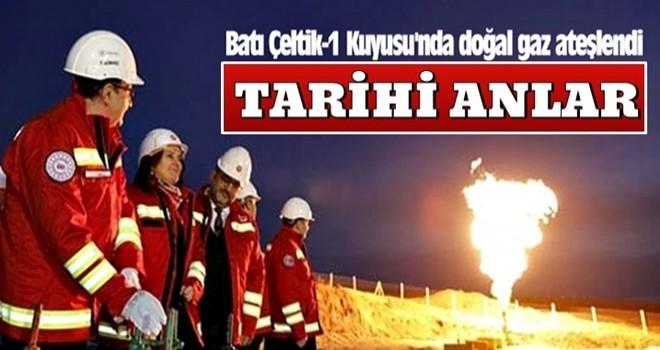 Batı Çeltik-1 Kuyusu'nda doğal gaz ateşlendi