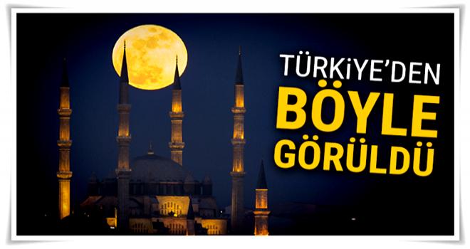 Süper Kanlı Mavi Ay, Türkiye'den böyle görüldü