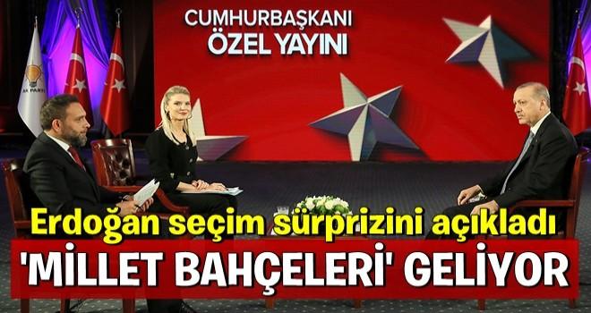 Cumhurbaşkanı Erdoğan canlı yayında açıkladı: 'Millet Bahçeleri' geliyor