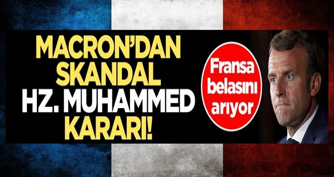"""Alçak Charlie Hebdo dergisinin sözde """"Hz. Muhammed karikatürleri""""ne Macron'dan skandal destek"""