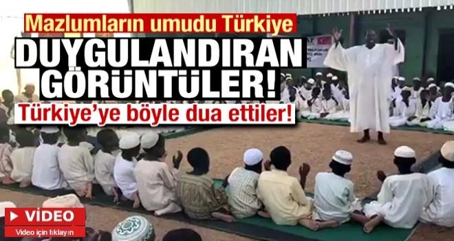 Sudanlı yetimler Türkiye'ye böyle dua etti