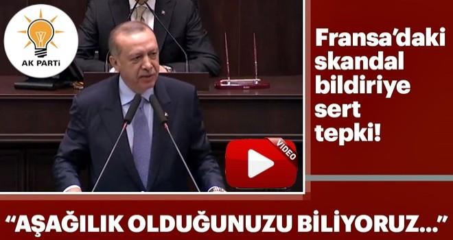 Cumhurbaşkanı Erdoğan'dan Fransa'daki skandal bildiriye sert tepki!