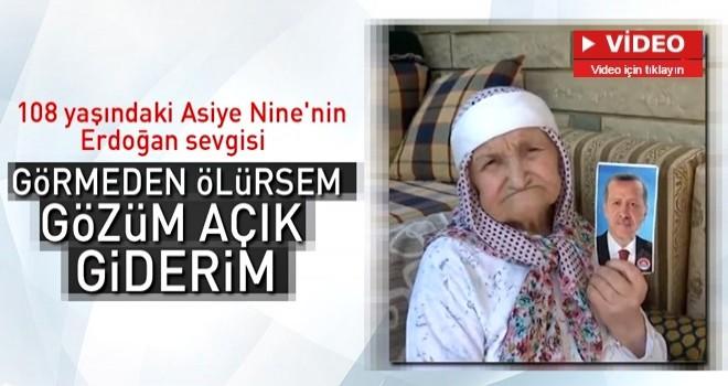 108 yaşındaki Asiye Nine'nin Erdoğan sevgisi .