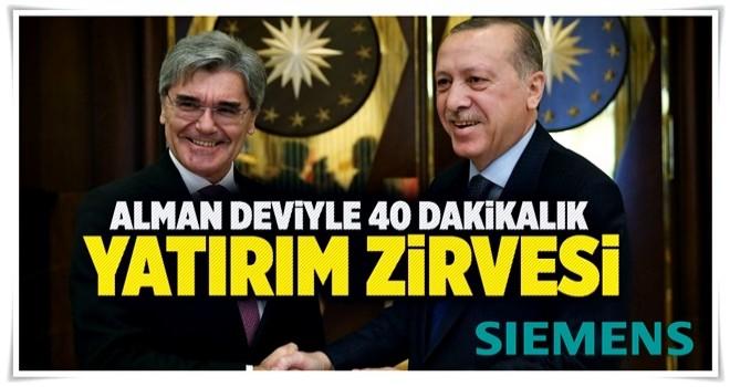 Cumhurbaşkanı Erdoğan ile Alman devden 40 dakikalık yatırım zirvesi .