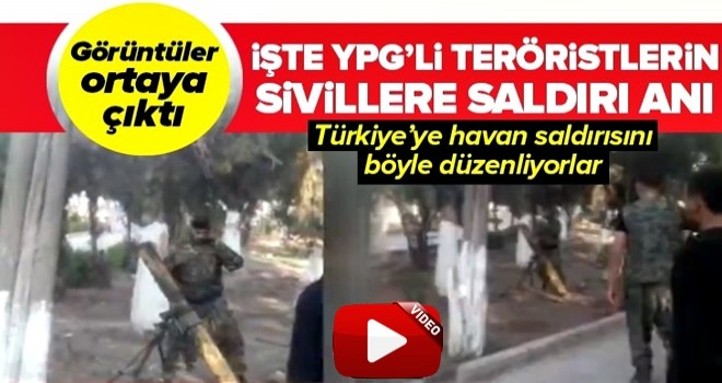 İşte YPG'li teröristlerin sivillere saldırı anı .