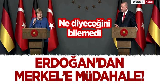 Başkan Erdoğan'dan Merkel'e müdahale! Ne diyeceğini bilemedi