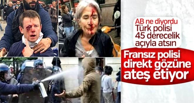 Fransa'da göstericilerin üzerlerine plastik mermi ateşlendi