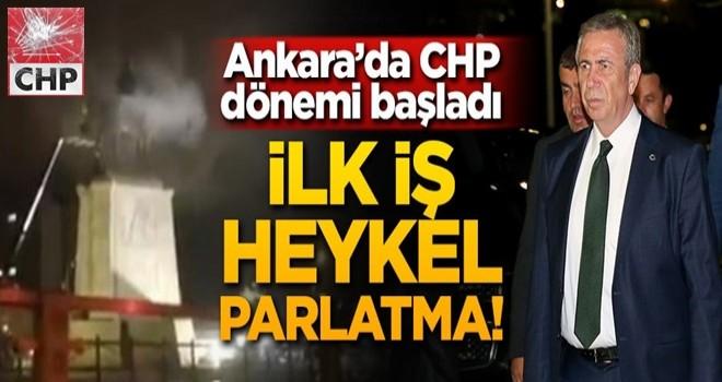 Ankara'da CHP dönemi başladı! İlk iş heykel parlatma