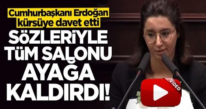Cumhurbaşkanı Erdoğan'ın kürsüye davet ettiği şehit kızının sözleri salonu ayağa kaldırdı
