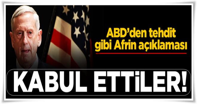 ABD, YPG'li teröristlerin Afrin'e kaydığını kabul etti