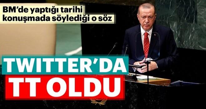 Cumhurbaşkanı Erdoğan 'ın sözleri Twitter'da dünya gündeminde! .
