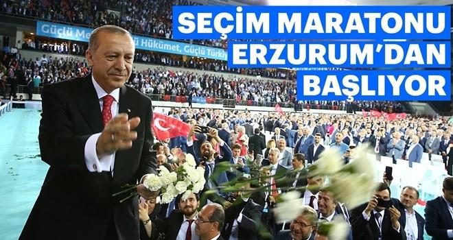 Seçim maratonuna Erzurum'dan start