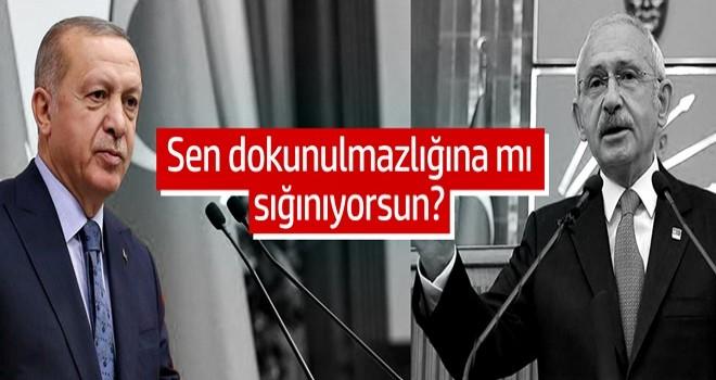Başkan Erdoğan: 'Sen dokunulmazlığına mı sığınıyorsun?