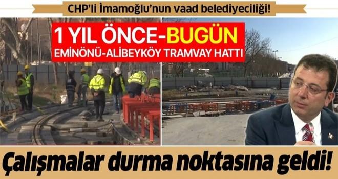 2020'de tamamlanması hedeflenen Eminönü-Alibeyköy Tramvay Hattı'nda çalışmalar durma noktasına geldi .