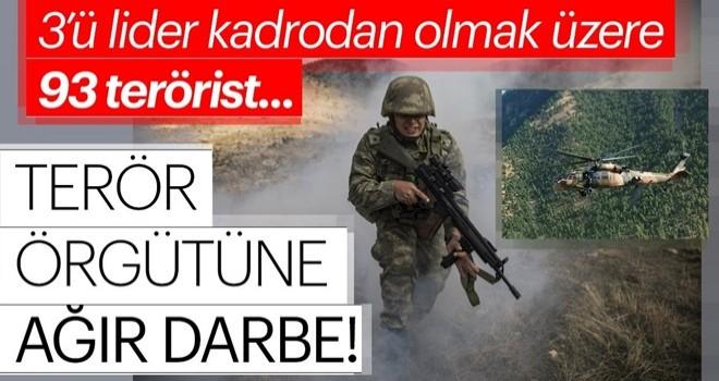 Terör örgütüne ağır darbe! 93 terörist öldürüldü aralarında sözde liderleri de var...