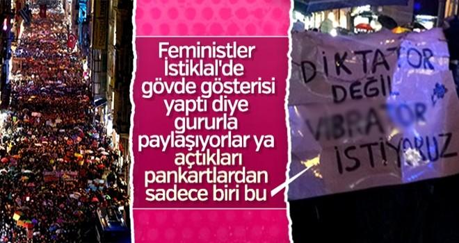 'Kadın hakları'nı bahane ettiler… Bu ahlaksız pankartlarla mı savunuyorsunuz?