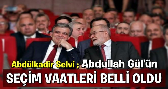 Abdülkadir Selvi Abdullah Gül'ün seçim vaatlerini açıkladı