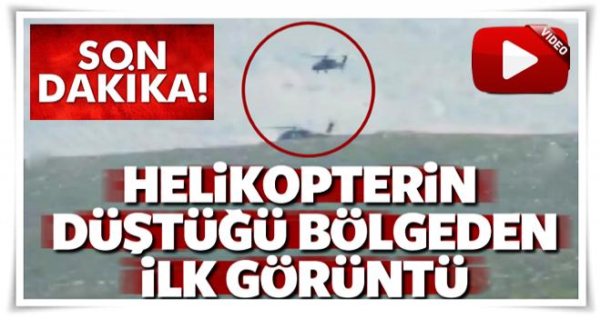 Helikopterin düştüğü bölgeden ilk görüntü!