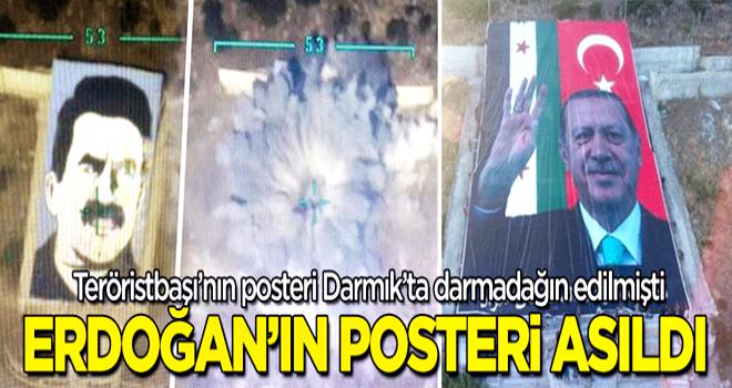 Terörisbaşı Apo'nun posteri bombalanmış... Erdoğan'ın posteri asıldı!
