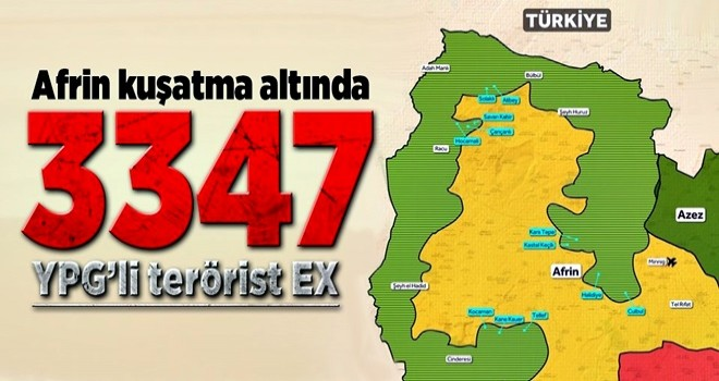 İşte Afrin'de öldürülen YPG'li terörist sayısı .