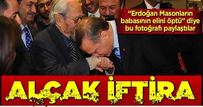 """""""Erdoğan, masonların babasının elini öptü"""" deyip bu fotoğrafı paylaştılar… Alçak iftira!"""