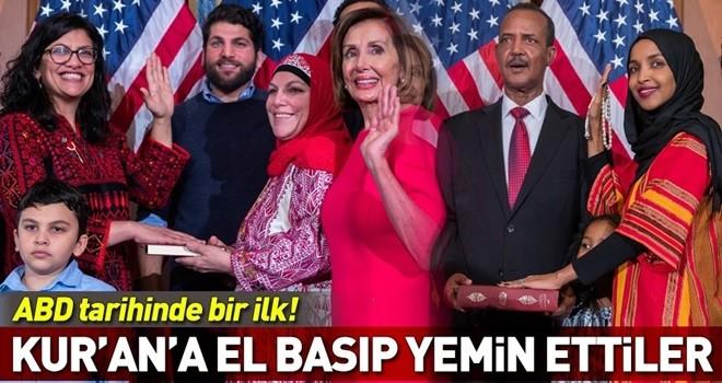 ABD'li Müslüman kongre üyeleri yemin ederken Kur'an'a el bastı